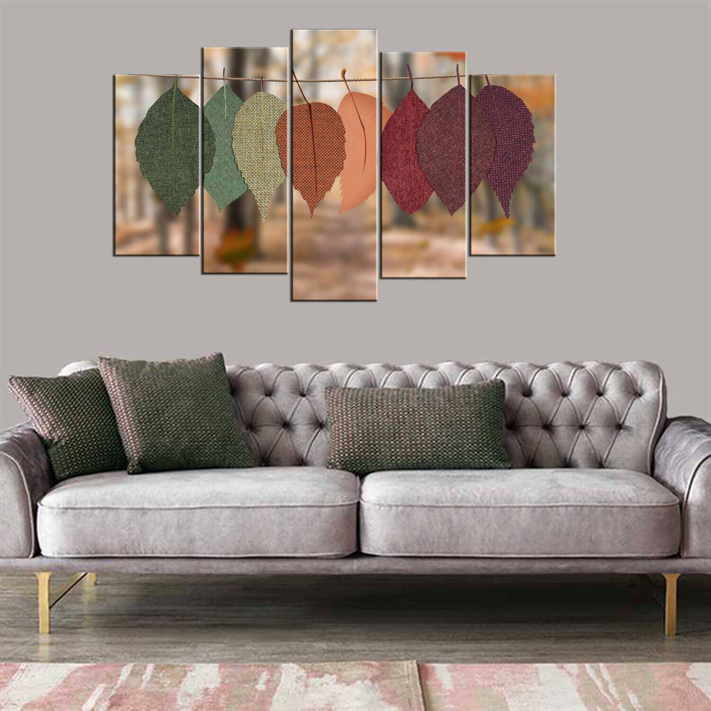 Renkli Yapraklar 5 Parçalı Mdf Tablo