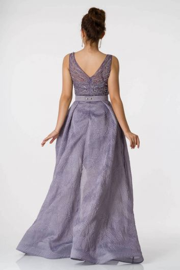 Shecca By Dayi - Long Lavender Evening Dress With Belt (1)