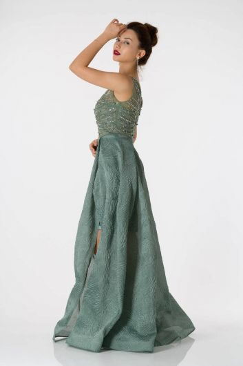 Shecca By Dayi - Slit Detailed Long Green Evening Dress (1)