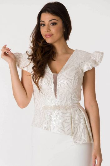 shecca - فستان سهرة بقصة غير متماثلة بياقة على شكل V أبيض (1)