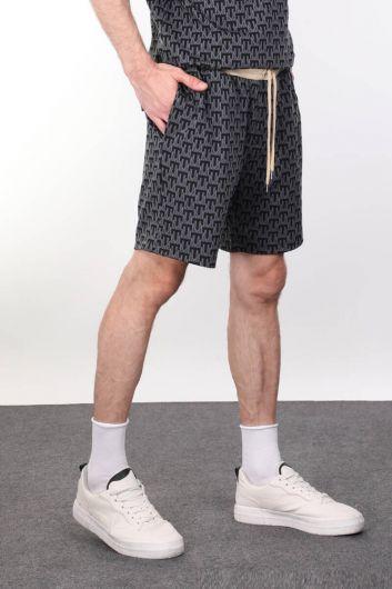 MARKAPIA MAN - Толстые мужские шорты в рубчик с узором (1)