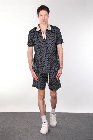 Толстые мужские шорты в рубчик с узором - Thumbnail