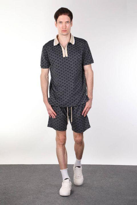 Толстые мужские шорты в рубчик с узором