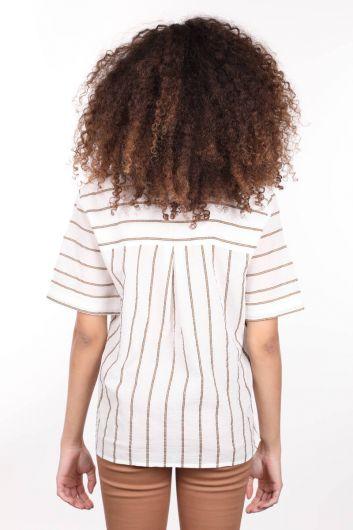 Ribbed White V Neck Short Sleeve Women Blouse - Thumbnail