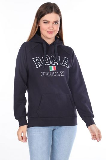 Roma Italy Applique Fleece Hooded Sweatshirt - Thumbnail