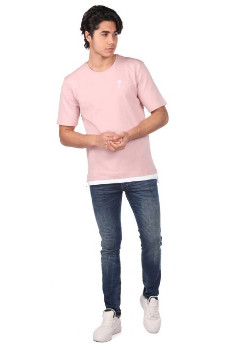 Rose Embroidered Men's Crew Neck T-Shirt