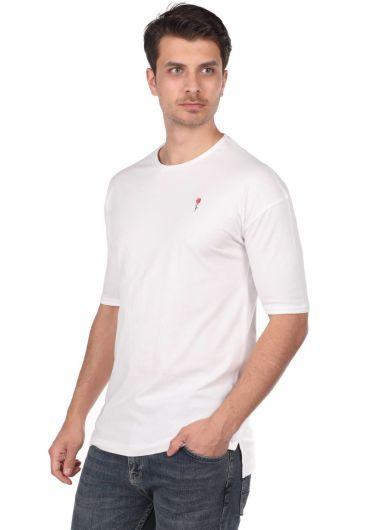 ROSE LONDON - Rose Embroidered Men's White Crew Neck T-Shirt (1)