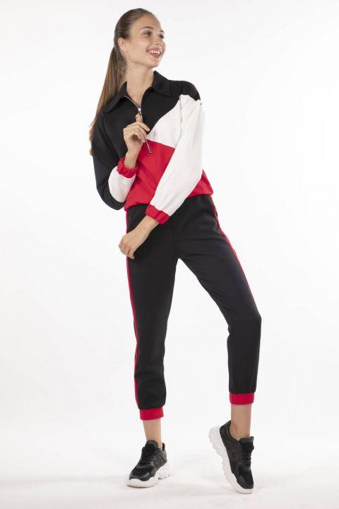 Эластичный спортивный костюм с геометрическим рисунком