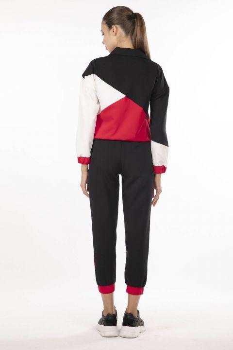 Elastic Geometric Piece Track Suit