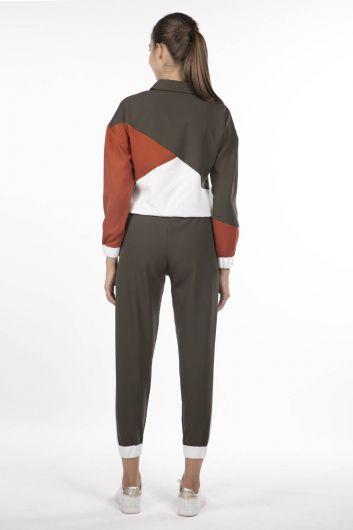 Женский эластичный спортивный костюм с геометрическим рисунком - Thumbnail