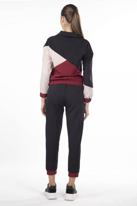 Elastic Women's Geometric Tracksuit Piece Set