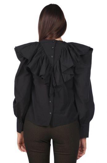 MARKAPIA WOMAN - بلوزة نسائية سوداء مكشكشة (1)