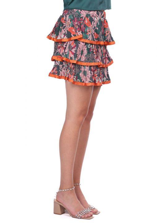 Ruffled Layered Pleated Skirt