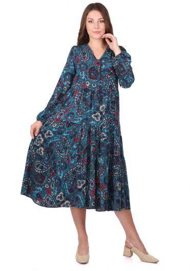 Ruffled Long Sleeve Flower Patterned Dress - Thumbnail