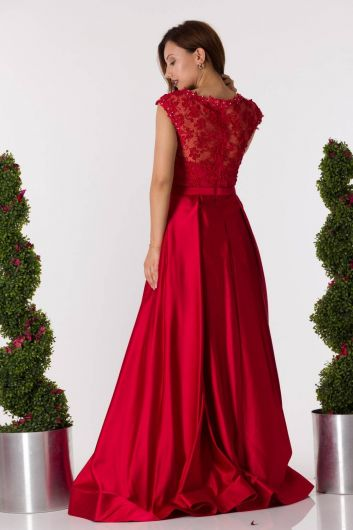 shecca - Slit Long Red Satin Evening Dress (1)