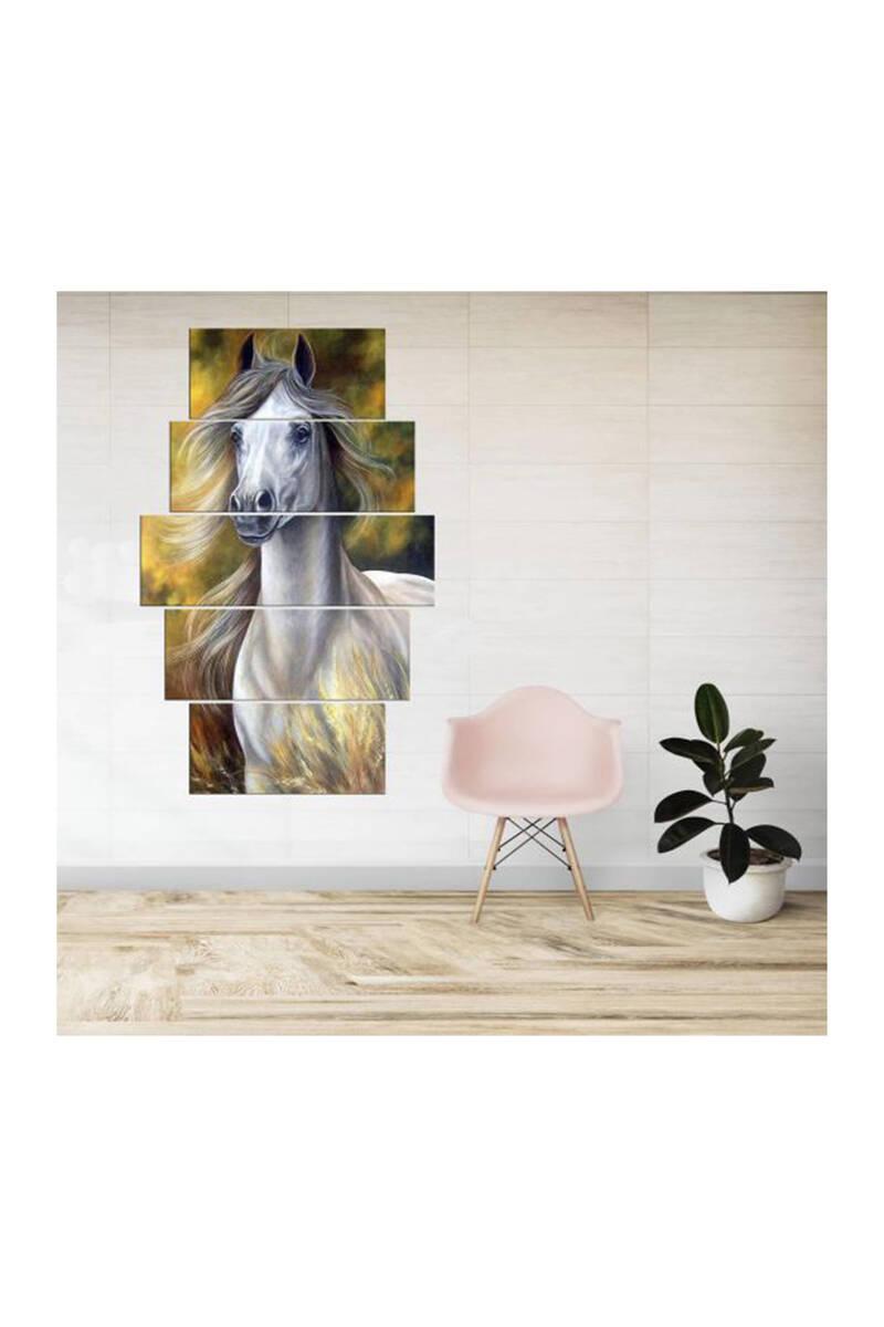 Saçlı Beyaz At 5 Parçalı Mdf Tablo