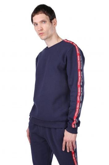 MARKAPIA MAN - Men's Crew Neck Sweatshirt with Side Stripe (1)