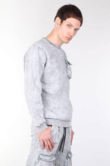 MARKAPIA MAN - Şardonlu Bisiklet Yaka Cepli Erkek Sweatshirt (1)