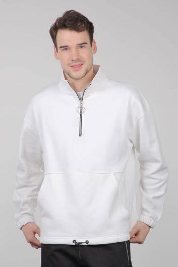 MARKAPIA MAN - Şardonlu Fermuarlı Cepli Beyaz Erkek Sweatshirt (1)