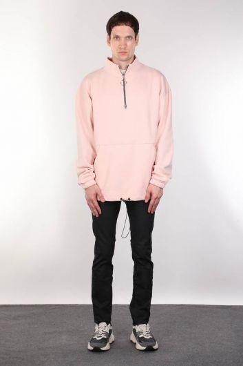 Şardonlu Fermuarlı Cepli Erkek Sweatshirt - Thumbnail