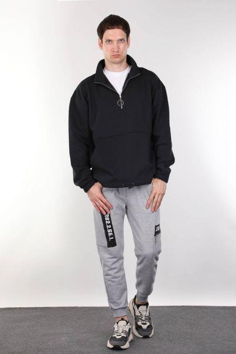 Şardonlu Fermuarlı Lacivert Erkek Sweatshirt