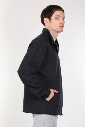 MARKAPIA MAN - Navy Blue Men's Sweatshirt with Shawl and Zipper (1)