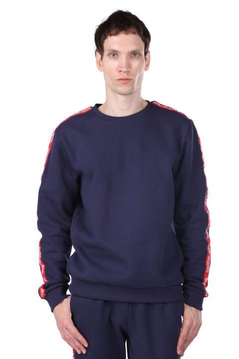 Şardonlu Yandan Şeritli Erkek Bisiklet Yaka Sweatshirt