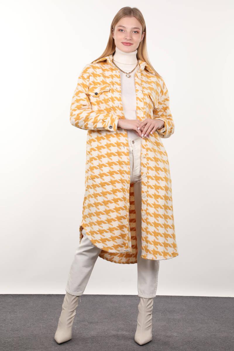 Sarı Kazayağı Desenli Cepli Uzun Kadın Ceket