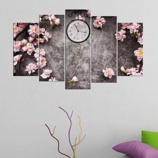 Sarmaşık Çiçek 5 Parça Mdf Saat Tablo - Thumbnail