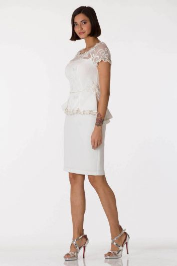 Shecca By Dayi - White Laced Flounce Woman Evening Dress Suit  (1)