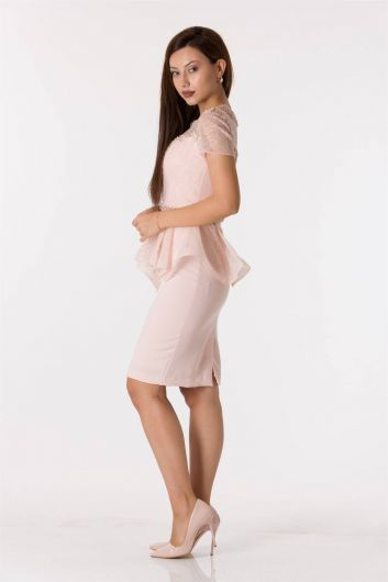 Shecca By Dayi - Short Sleeve Lace Powder Suit Evening Dress (1)