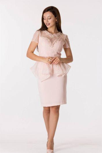 Кружевное вечернее платье с короткими рукавами и пудровым принтом - Thumbnail