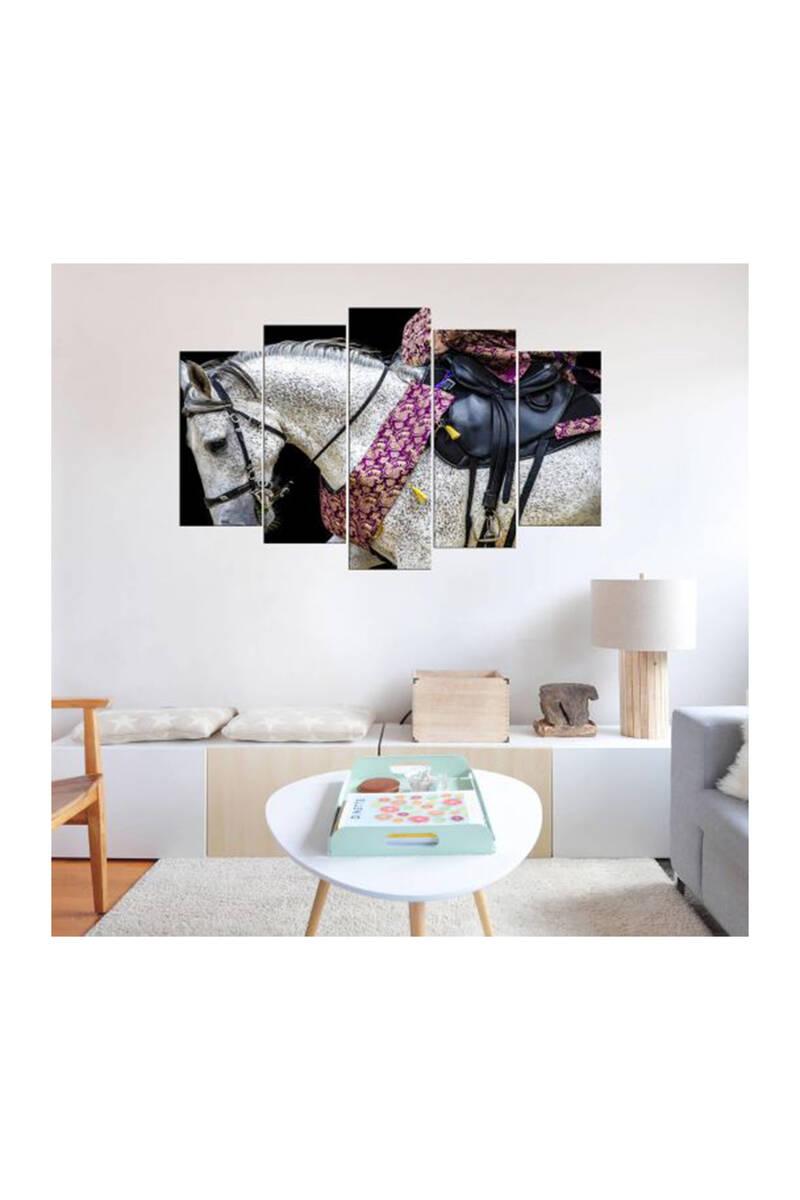 Semerli Beyaz At 5 Parçalı Mdf Tablo
