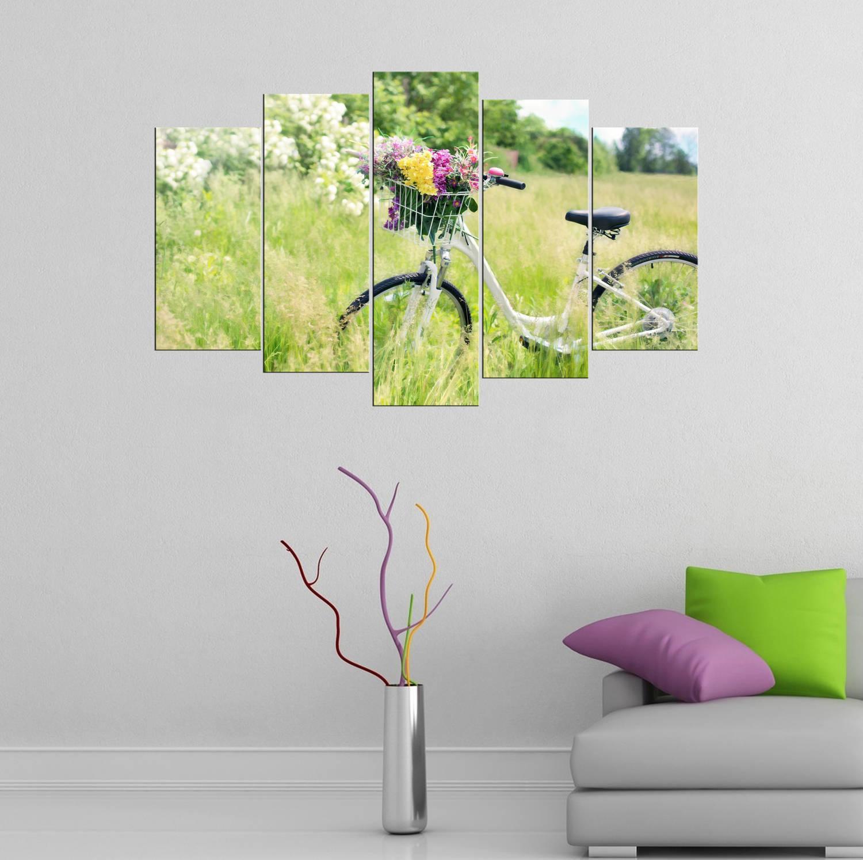 Sepetli Bisiklet Temalı 5 Parçalı Mdf Tablo