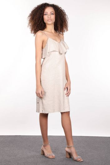 Beige Strappy Sequin Women Dress - Thumbnail