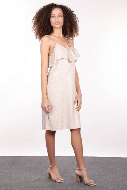 Beige Strappy Sequin Women Dress