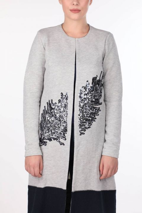 SEQUIN EMBROIDERED LONG SLEEVE CARDIGAN