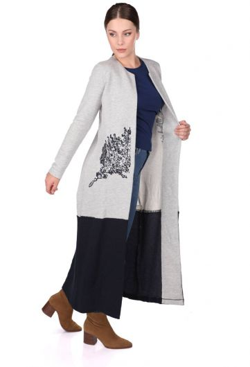 SEQUIN EMBROIDERED LONG SLEEVE CARDIGAN - Thumbnail