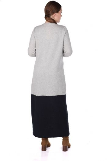 Открытый длинный кардиган с вышивкой пайетками - Thumbnail