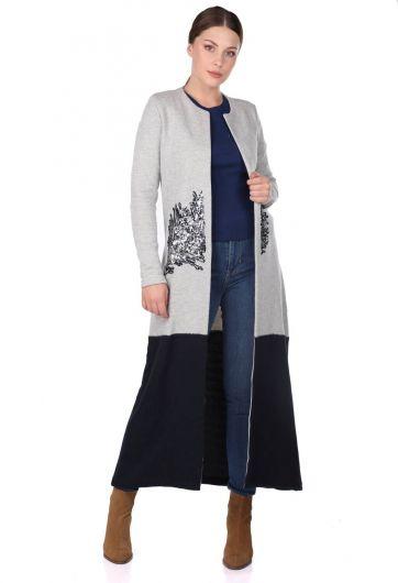 MARKAPIA WOMAN - Открытый длинный кардиган с вышивкой пайетками (1)