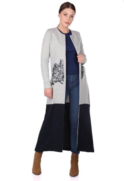Открытый длинный кардиган с вышивкой пайетками