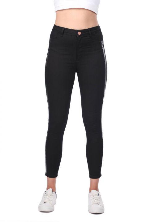 Şerit Detaylı Skinny Jean Pantolon