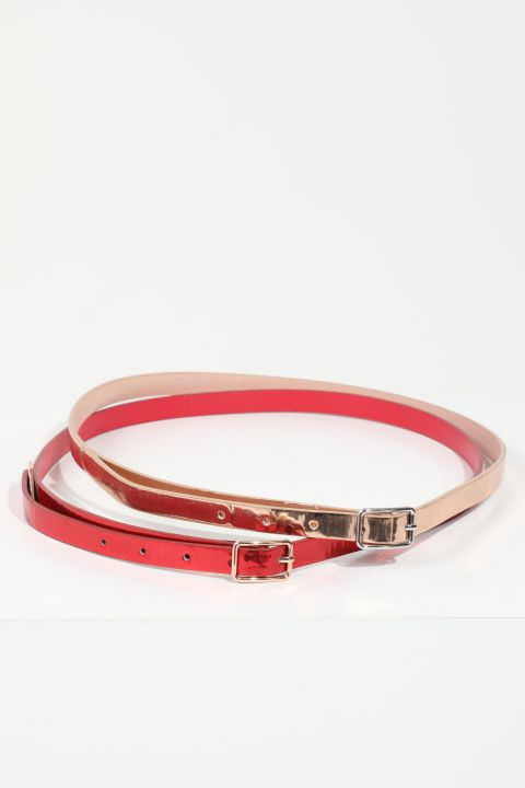 حزام نسائي من الجلد اللامع باللون الفوشيا / مسحوق