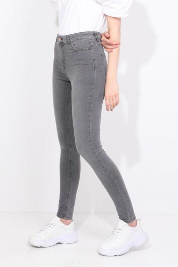 Джинсовые брюки Skınny с отделкой блестящими камнями - Thumbnail