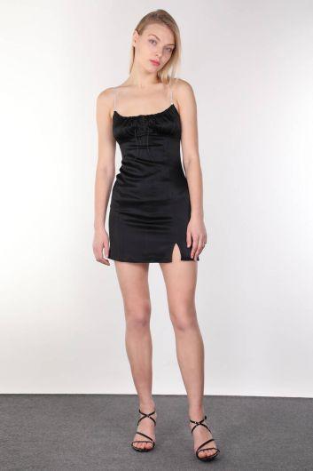 لامعة ستون Strappy و فستان أسود صغير للمرأة - Thumbnail
