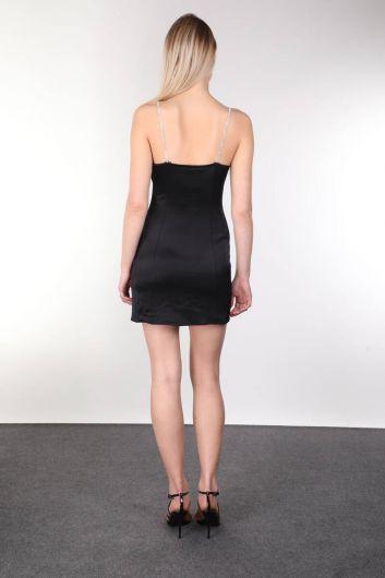 Shiny Stone Strappy Satin Black Mini Women's Dress - Thumbnail
