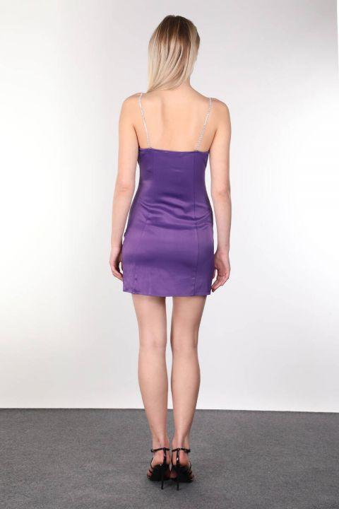 لامعة ستون Strappy و فستان بيربل ميني للمرأة