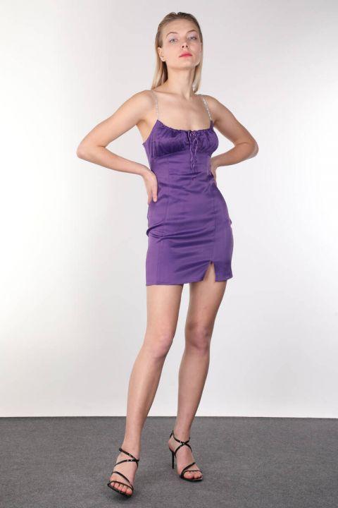 Shiny Stone Strappy Satin Purple Mini Women's Dress