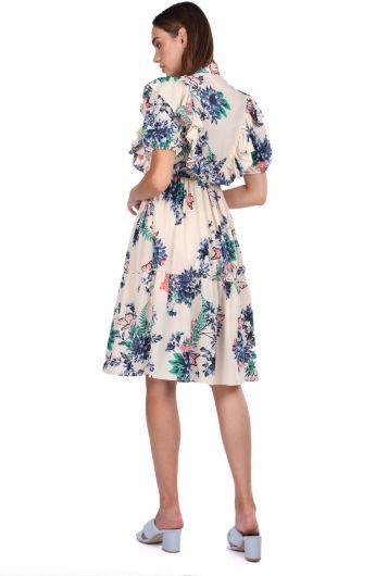 فستان كريمي منقوش بأكمام قصيرة - Thumbnail