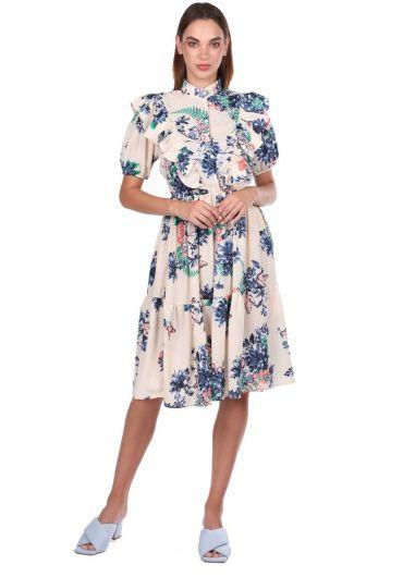 Short Sleeve Flower Patterned Cream Dress - Thumbnail